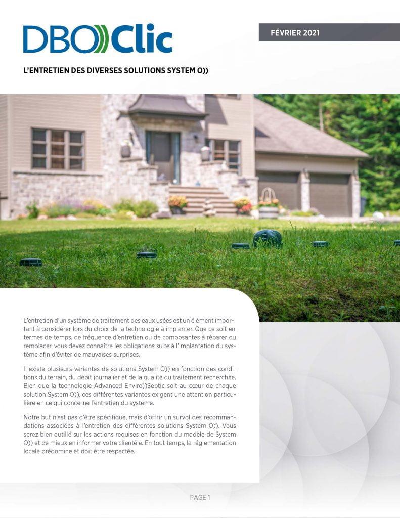 L'entretien des systèmes septiques System O)) - DBO))Clic 1