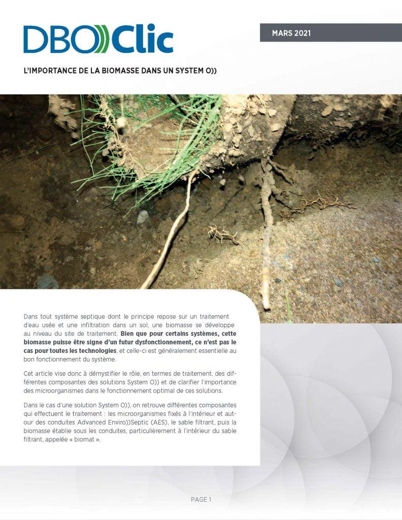 La biomasse passivement contrôlée d'un système septique System O)) - DBO))Clic 1