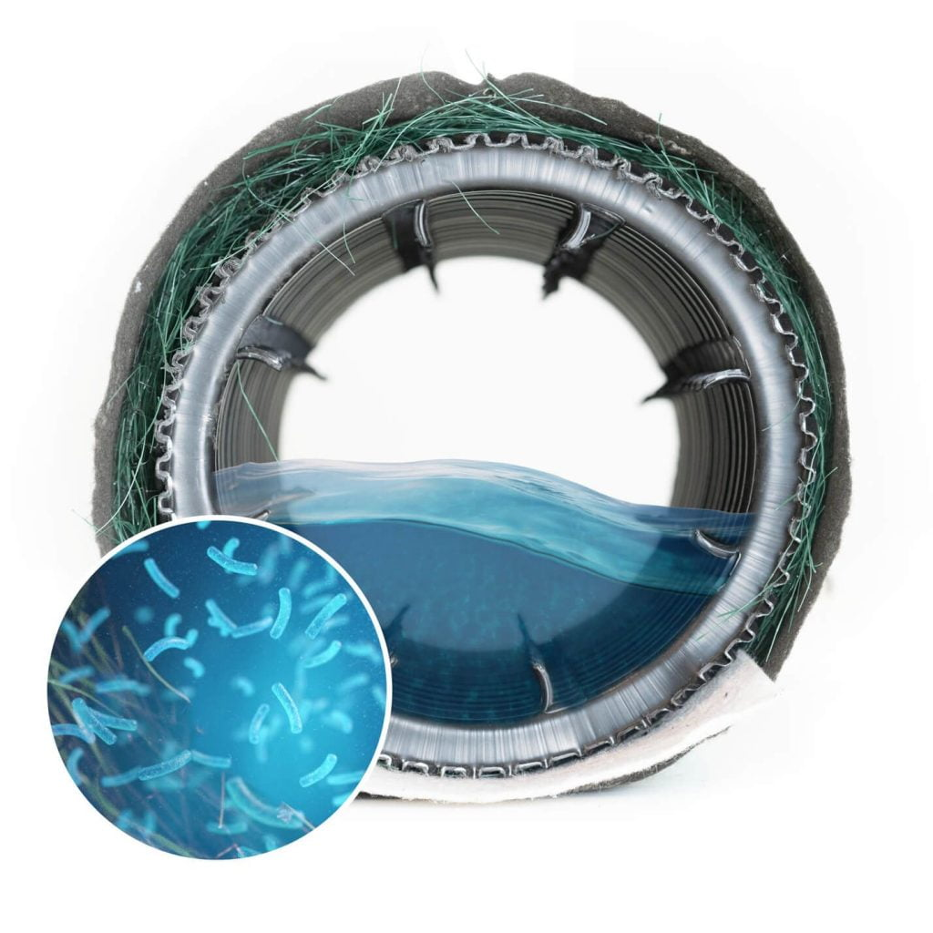 Conduite pour traitement des eaux usées utilisant des bactéries