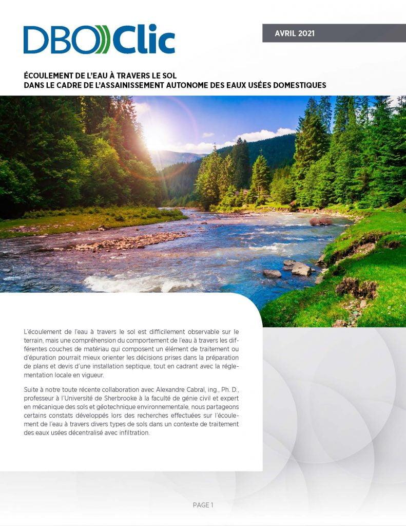 L'écoulement de l'eau à travers le sol - DBO))Clic 2